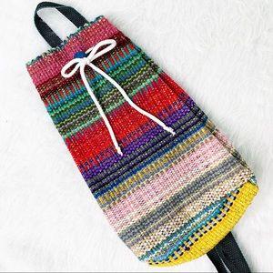 VINTAGE Boho Hand Woven Kilim Serape Backpack